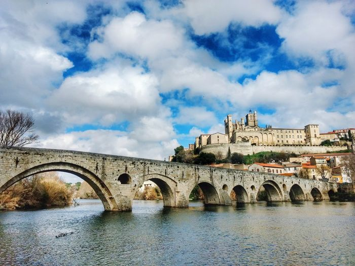 Béziers France Beziers Pont Vieux Castle City Bridge - Man Made Structure Arch History Old Ruin Water River Sky Architecture Cloud - Sky Arch Bridge Civilization Archaeology