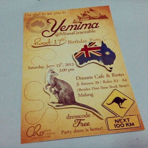 Invitation Chothinkcreative Latepost Ausie kangaroo brown vintage like instalike