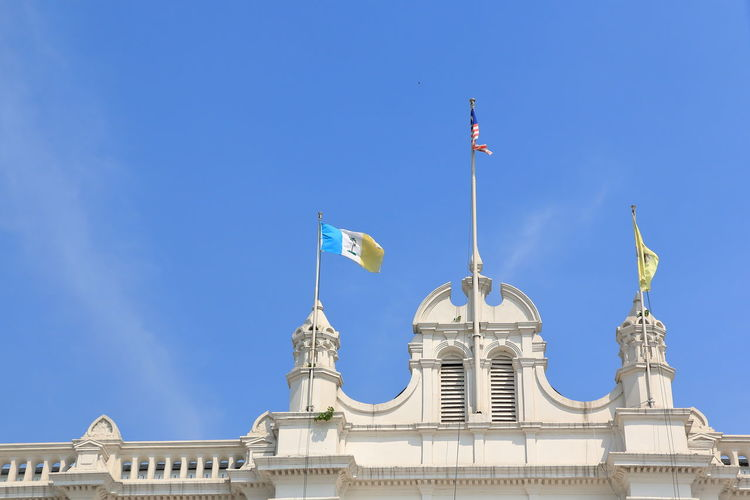 The Penang City Hall Architecture Blue Building Building Exterior Built Structure Clear Sky Day History Low Angle View Nature No People Penang Malaysia Sky The Past Travel Travel Destinations