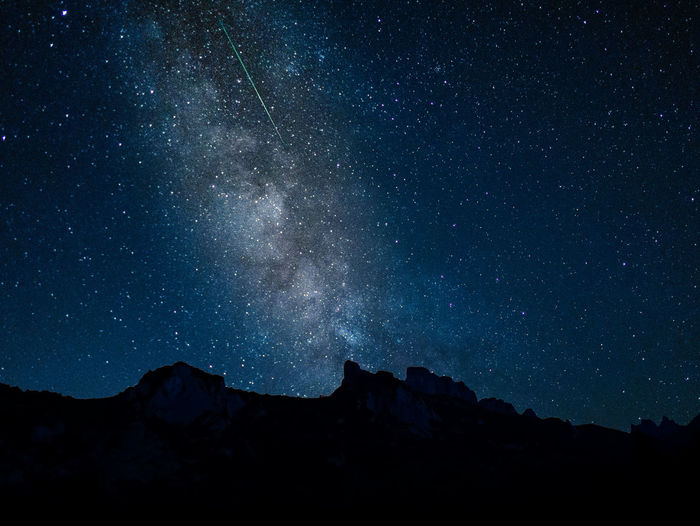 Falling Star Astronomy Beauty In Nature Galaxy Idyllic Landscape Milky Way Mountain Mountain Peak Mountain Range Nature Night No People Outdoors Perseid Meteor Shower Scenics - Nature Silhouette Sky Space Star Star - Space Star Field Tranquil Scene Tranquility