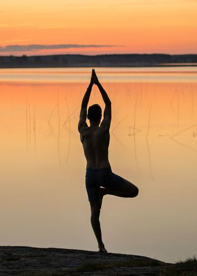 Rear View Of Silhouette Man Practicing Tree Pose At Lakeshore