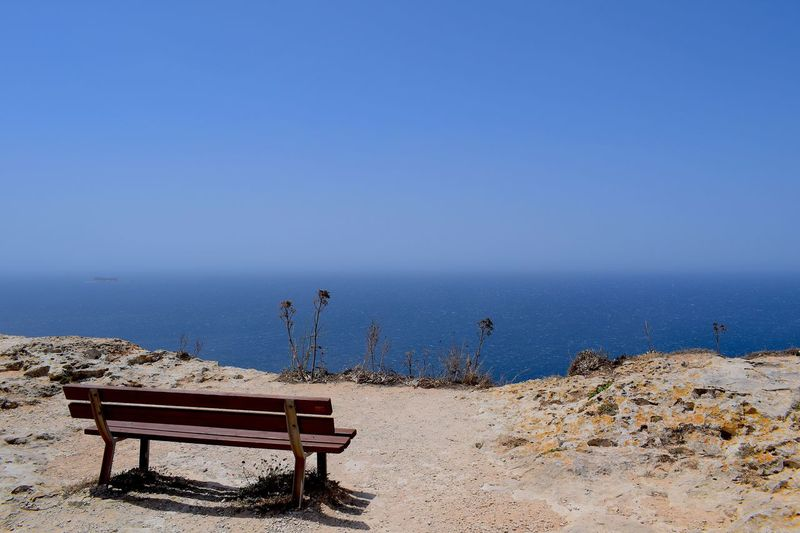 Bench EyeEmNewHere Sea Sky Water Land Horizon Over Water Tranquility Blue Seat Scenics - Nature Nature Outdoors Horizon Day No People Clear Sky Copy Space Tranquil Scene Beauty In Nature
