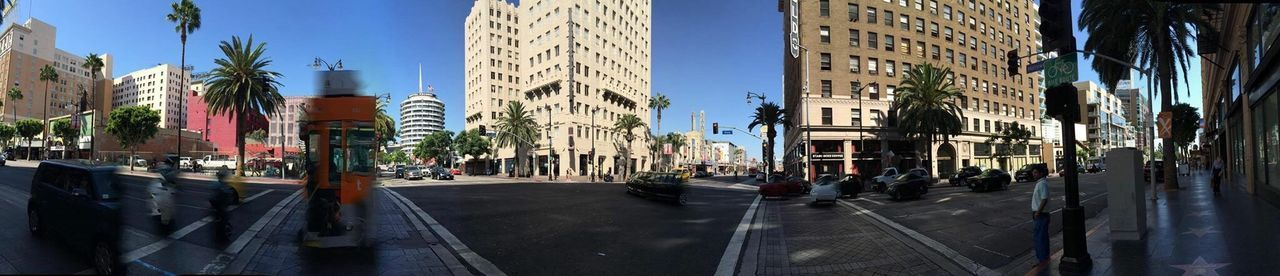 Panorama Hollywood And Vine Hollywood California Capitol Records Building Round Street Signs Street Travel