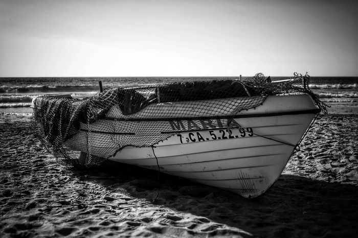 Clear Sky Sea Beach Nautical Vessel Horizon Over Water Sand Water Sky Black And White Collection  Black And White Black & White EyeEm Best Shots EyeEm Black And White Photography Blackandwhite Photography Eyeem Black And White EyeEm Black&white! Boat Fishing Boat Fishing Boat On Land Black And White Boat Zahara De Los Atunes Black And White Beach Boat And Beach Boat On Beach