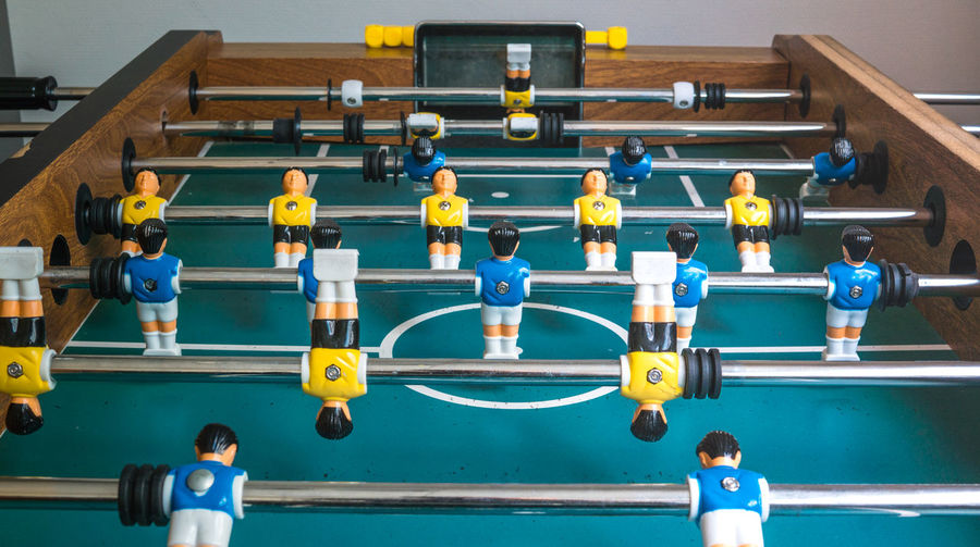 High angle view of foosball