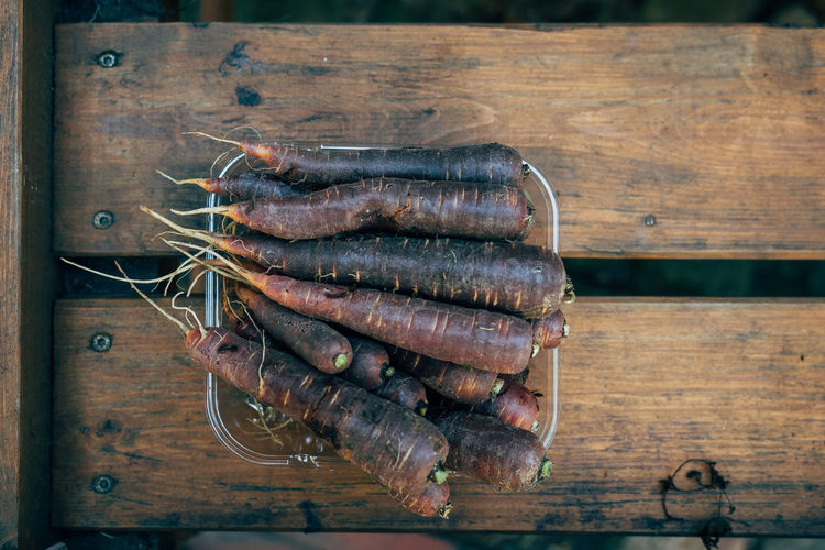 High Angle View Of Carrots In Bowl