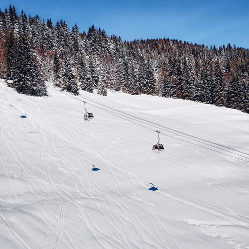 The gondola lift of this  french ski resort  called les gets brings you to the peak for skiing.