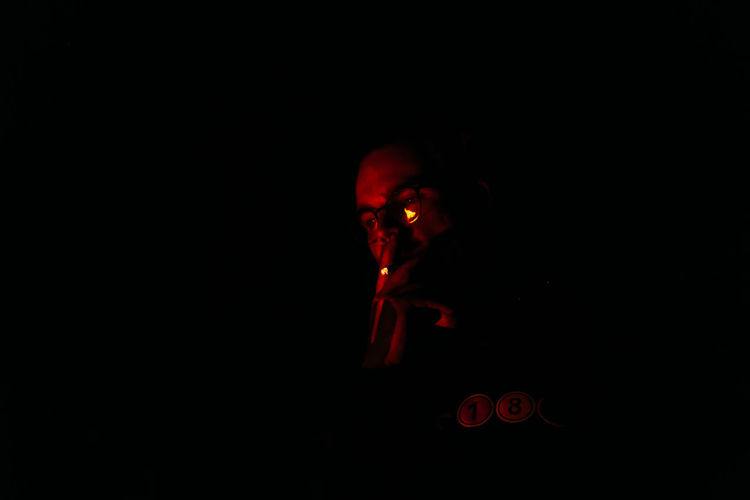 """Last Summer Day"" series Smoking Bad Habit Black Background Close-up Illuminated Night No People Outdoors Red"