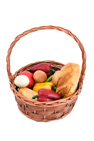 fresh food basket on white background Basket Bread Cut Out Easter Easter Egg Food Food And Drink Freshness Multi Colored No People Picnic Picnic Basket Shopping Basket Studio Shot Sweet Food Whicker White Background Wicker