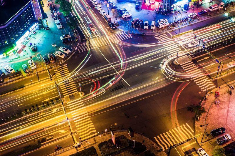 流光 Traffic Night City High Angle View Transportation City Life Road