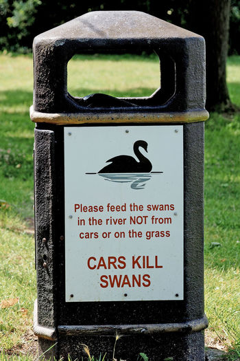 Roadside rubbist bin warning of the perils of feeding the swans = Manningtree, Essex, UK Car Signs Close-up Communication Day Focus On Foreground Grass Nature No People Outdoors Rubbish Bin Swan Warning Sign Text Trash Cans