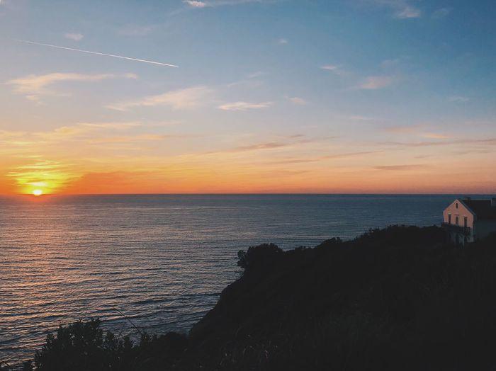Sky Sea Water Sunset Scenics - Nature Beauty In Nature Horizon Over Water Cloud - Sky Beach Horizon Tranquility Nature Tranquil Scene Land Idyllic Non-urban Scene No People Orange Color Sunlight