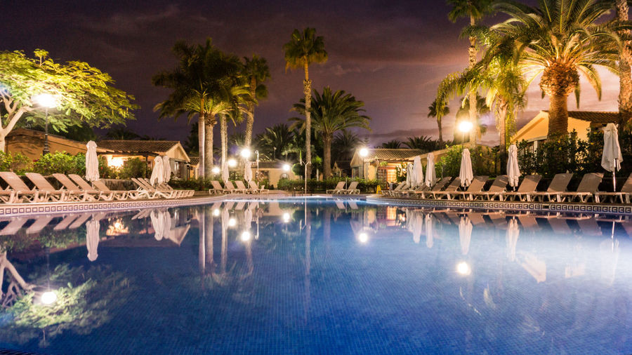 SPAIN Architecture Built Structure Dunas Maspalomas Illuminated Luxury Hotel Nature Night No People Outdoors Palm Tree Reflecting Pool Reflection Sky Spa Swimming Pool Tourist Resort Tree Vacations Water Waterfront