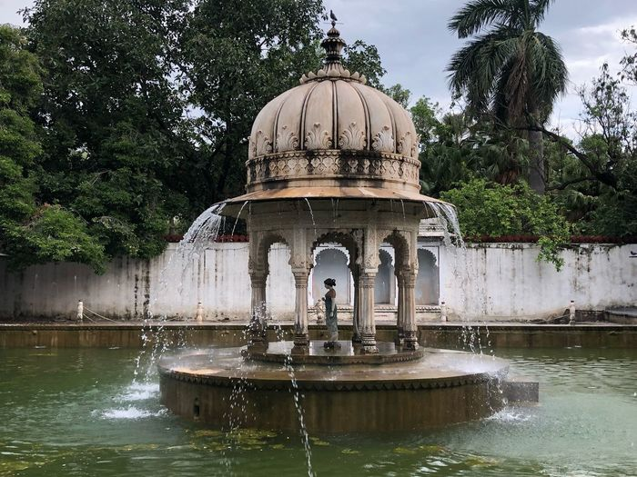 View of fountain in lake