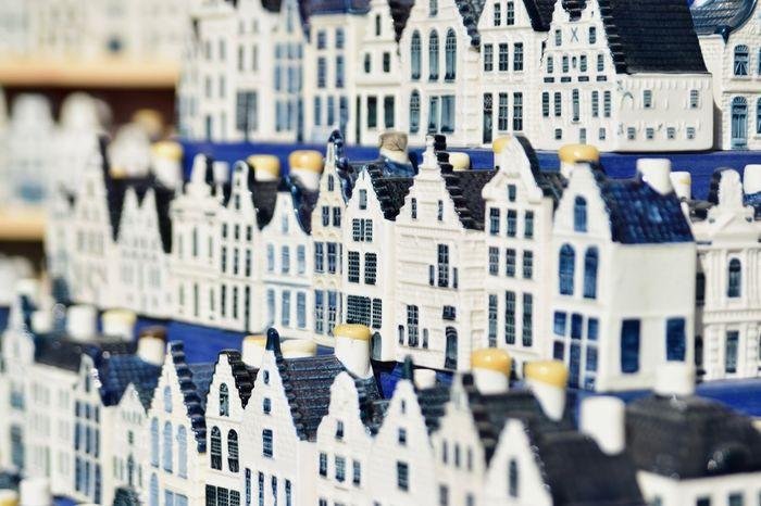 Amsterdam Blue Collection Delft Delftse Blauw Dutch Houses KLM No People Porcelain  White