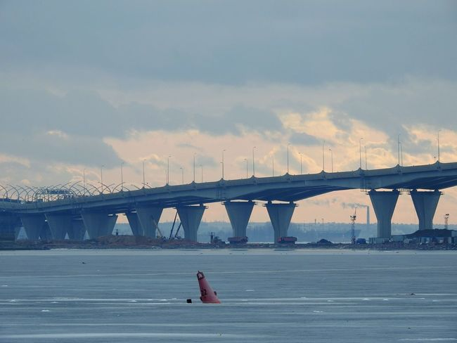 Bridge - Man Made Structure Travel Sea Sky Sunset Built Structure Cloud - Sky Water Architecture City Day North Ice Baltic Cold Temperature Snowing Walking By The Gulf The Gulf Of Finland Winter Colors Of Sankt-Peterburg Sankt-Petersburg Russia