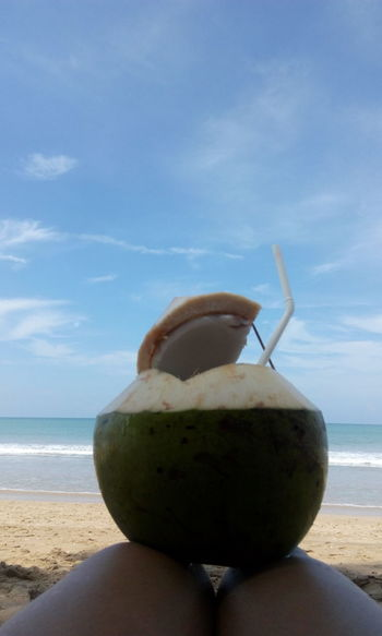 Sea Water Beach Sand Nature Food No People Horizon Over Water Outdoors Day Sky UnderSea Coconut The Beach Life