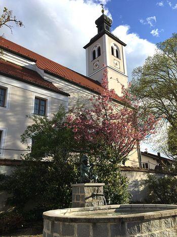 Tree Cloud - Sky Kirche Religion Architecture Denkmal Hoffnung Vergebung Glockenturm Church Architecture Brunnenfigur Brunnen Frühling Baum Lila Mauer