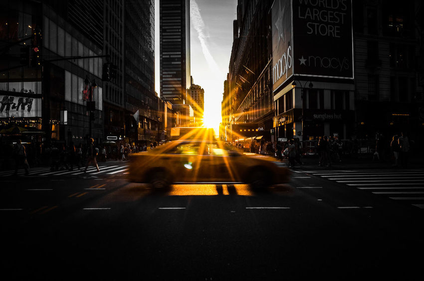 manhattanhenge cab Architecture Building Exterior Cab City City Life Lens Flare Macy Manhattanhenge Outdoors Sun Sunbeam Sunset Taxi The Way Forward