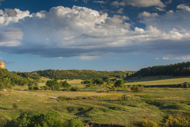 A valley in Franktown Colorado Castlewood Canyon State Park Colorado Agriculture Beauty In Nature Cloud - Sky Day Field Growth Landscape Nature No People Outdoors Rural Scene Scenics Sky Tranquil Scene Tranquility Tree