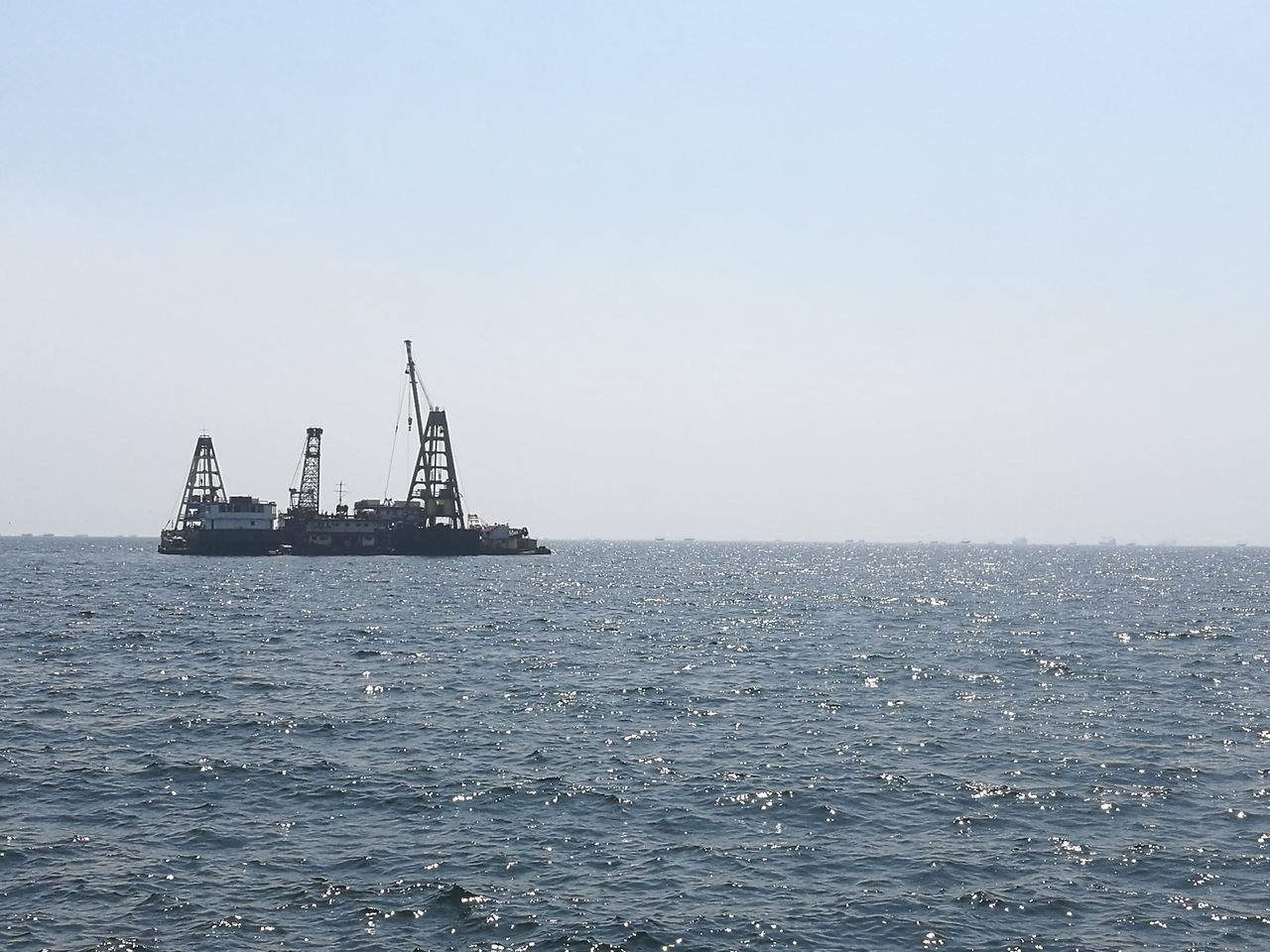 sea, copy space, water, day, offshore platform, horizon over water, oil industry, waterfront, clear sky, no people, nautical vessel, outdoors, ship, industry, nature, drilling rig, scenics, sky, oil pump