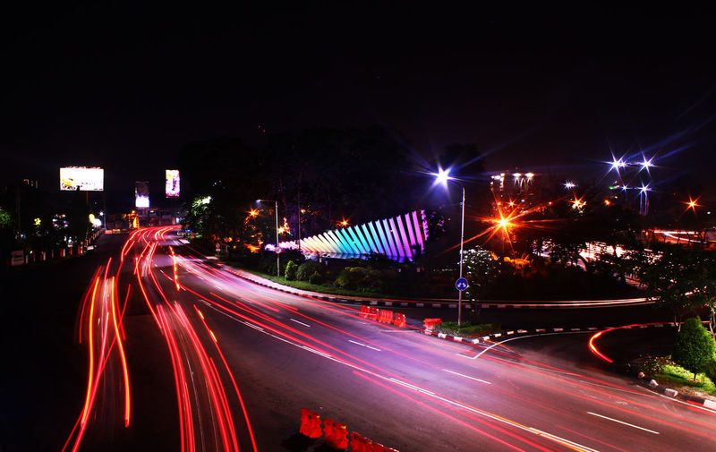 Taman Pelangi at Surabaya Architecture Blurred Motion City City Life High Street Illuminated Light Trail Long Exposure Motion Night No People Outdoors Road Speed Street Light Tamanpelangi