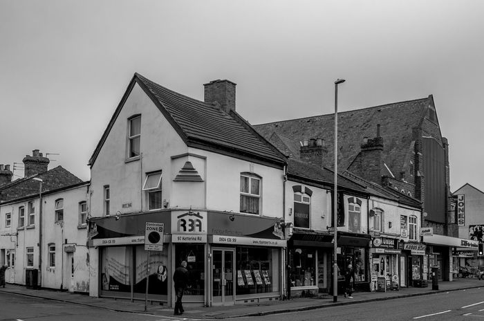 Shops, Kettering Road, Northampton Black And White Northampton Industrial Landscapes Monochrome Photography FUJIFILM X-T2 Monochrome Built Structure Kettering Road Building Exterior Architecture