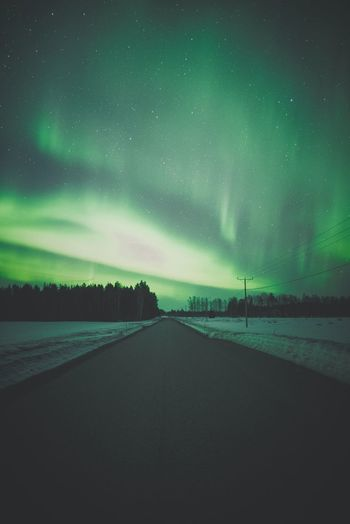 Lights over the road Night Beauty In Nature Scenics - Nature Sky Tranquil Scene Road Green Color Tranquility No People Direction Star - Space The Way Forward Transportation Nature Space Idyllic Environment Astronomy Outdoors Aurora Polaris Aurora Borealis Northern Lights Asphalt Snow Springtime Photography Nature_collection Nature Photography Light And Shadow Forest Bright Freshness Lapland Finland darkness and light Explore Landscape Landscape_Collection Landscape_photography Nightphotography Scenery Scenics Atmospheric Mood Green Color Power In Nature Hanging Out EyeEm Nature Lover Clear Sky Illuminated Check This Out