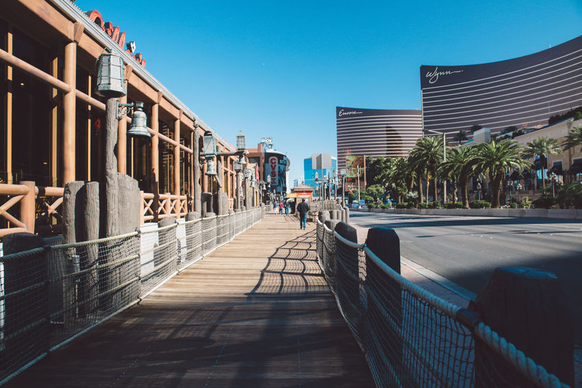 Architecture Building Exterior Built Structure City City City Of Las Vegas Clear Sky Day Las Vegas Las Vegas NV Men Nevada One Person Outdoors People Real People Sky Sunlight The Way Forward Tourist Attraction  Tourist Destination Tree