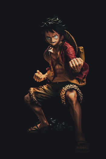 Anime Black Background Full Length Indoors  Luffy Night One Person One Piece Real People Sitting Studio Shot Toys Young Adult Young Women