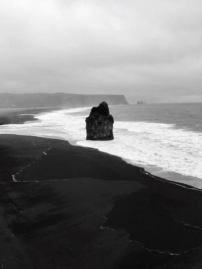 Sea Horizon Over Water Water Nature Scenics Tranquility Rock - Object Beauty In Nature Sky Beach Tranquil Scene Sand No People Day Outdoors Iceland Black Landscape