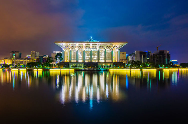 King of Mizan's Mosque at Putrajaya in gorgeous view. Malaysia Truly Asia Architecture Building Exterior Built Structure City Illuminated Malaysia Mosque Night No People Outdoors Putrajaya Reflection Sky Travel Destinations Water