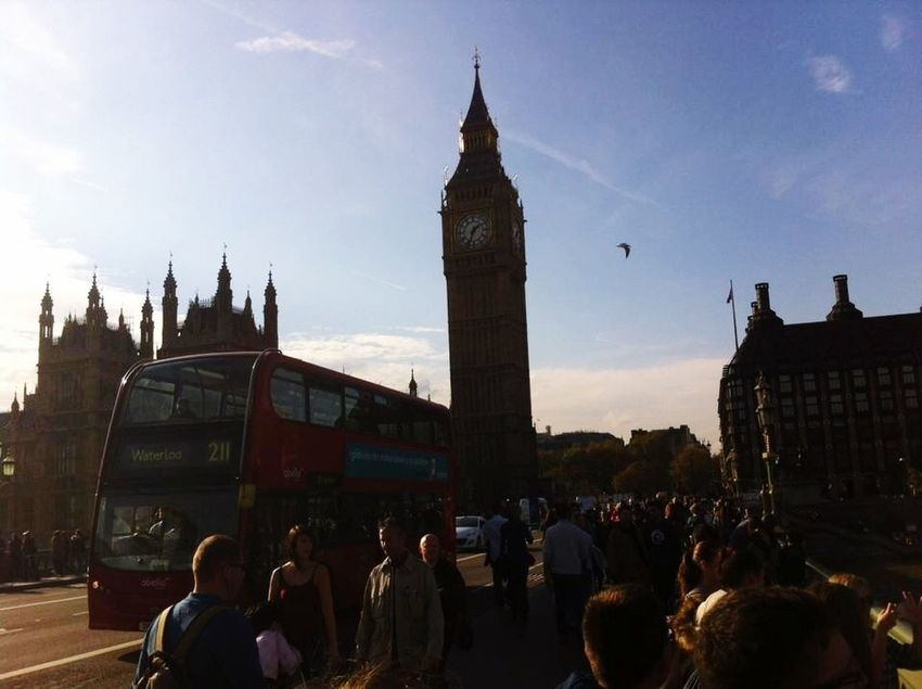 Low quality because I took it with iPhone 4 Large Group Of People Architecture Travel Destinations Sky Tower Clock Tower Lifestyles Outdoors City Life City Cultures London England Travel Big Ben Double Decker Bus Red