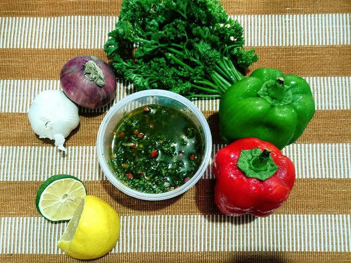 Mix'em All Colors Food Ingredient Chimichurri Mexican Peruvian Argentinian Garlic Bulb Garlic Ingredient Lemon Citrus Fruit Spice Chili Pepper Red Chili Pepper Halved