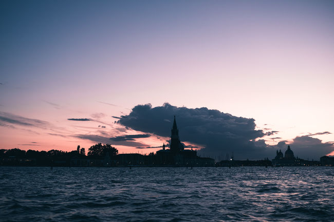 Architecture Beauty In Nature Building Building Exterior Built Structure City Cloud - Sky Nature No People Orange Color Outdoors Rippled Scenics - Nature Sea Silhouette Sky Sunset Venice Water Waterfront