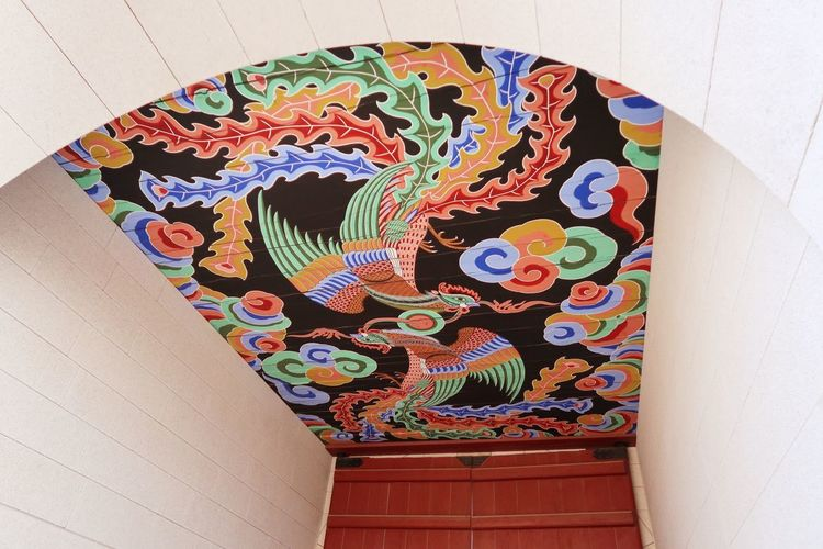 Low angle view of multi colored painting on wall
