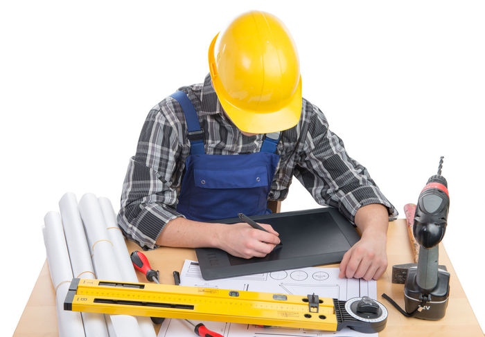Construction Worker Day Hardhat  Headwear Helmet Holding Human Hand Maintenance Engineer Occupation One Person Protective Workwear Repairing Safety White Background