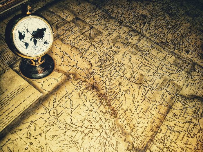 old map and timepiece Places Old USA Mississippi  Louisiana Alabama Travel Destinations Map Clock Time Watch Vintage Antique Paper EyeEm Selects Close-up Clockworks Cartography Instrument Of Time Clock Face