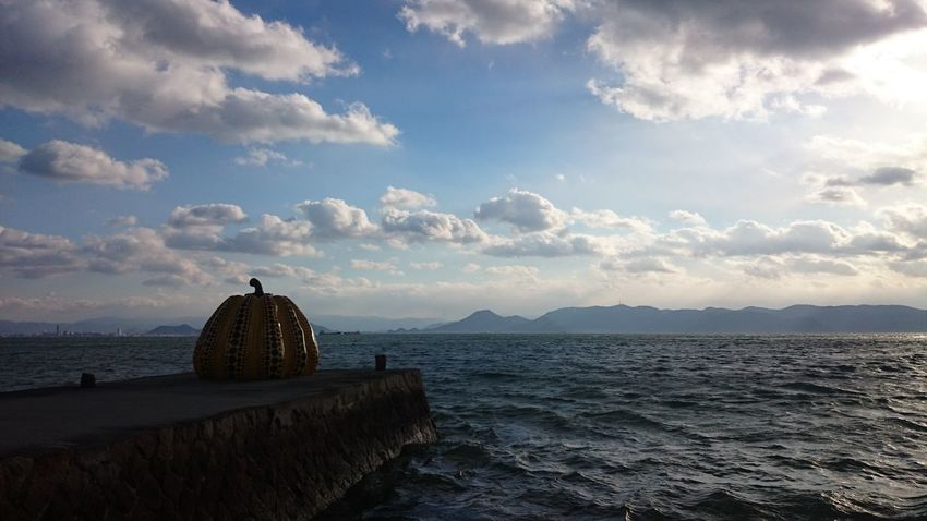 Beauty In Nature Clouds And Sky Kusama Yayoi No People Outdoors Pumpkin Scenics Sea Sky Water カボチャ 直島 草間彌生