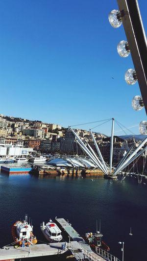 Panoramic wheel Genova Genova ♥ Italy Italia Porto Expo IT Oldcity Oldtown View Panorama Panoramic Sky Sea And Sky Sea Blue Bluesky Sky_collection Panoramic Photography Panoramic View