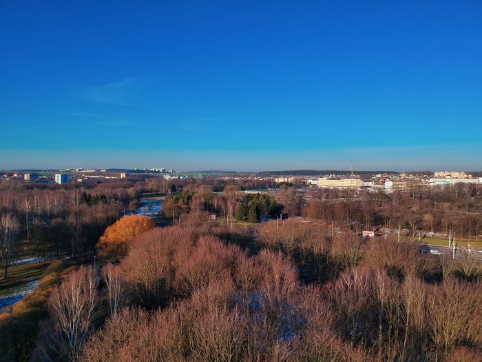 Panoramic shot of landscape against clear blue sky