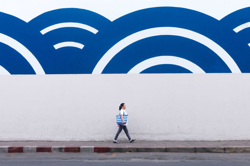 Adult Blue Blue Wave Day Lines Lines And Shapes Lines, Shapes And Curves Outdoors Sony Sony RX100 IV Street Photography Streetphotography Thailand EyeEmNewHere The Street Photographer - 2017 EyeEm Awards