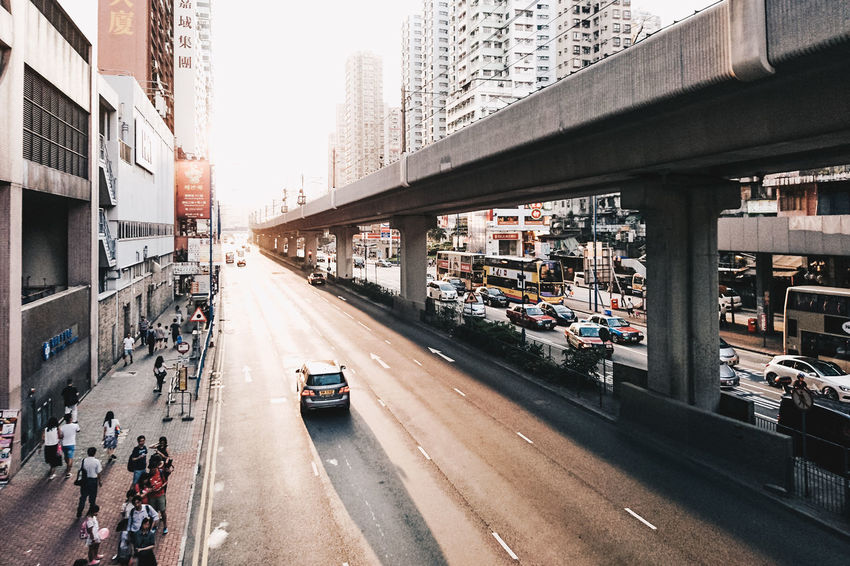 Bridge - Man Made Structure Built Structure Car City Cityscape Golden Hour Hong Kong Horizon Large Group Of People Long Shadows Outdoors Perspective Road The Architect - 2017 EyeEm Awards Transportation