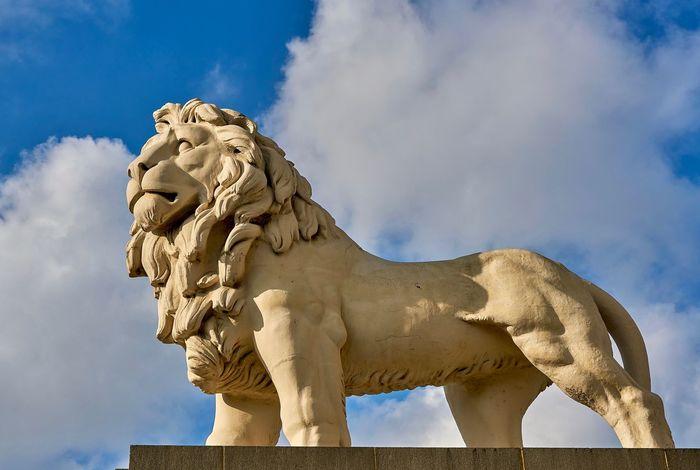 Great London London Londonlions Londonsbluesky Londontourism Monumentsoflondon Day Low Angle View Monuments & Statues No People Outdoors Sculpture Sky Statue Tourism Trafalgar Square Westminster Bridge Lion