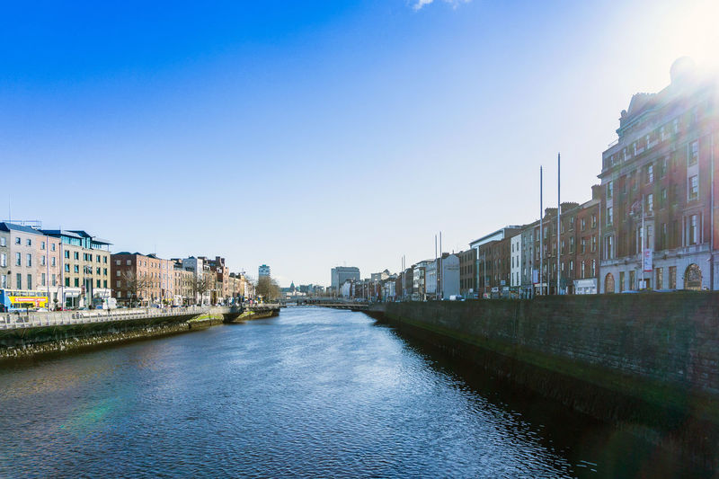 Architecture Building Exterior Built Structure City Cityscape Clear Sky Day Liffey Liffeyriver No People Outdoors Residential Building River Sky Travel Destinations Water Waterfront