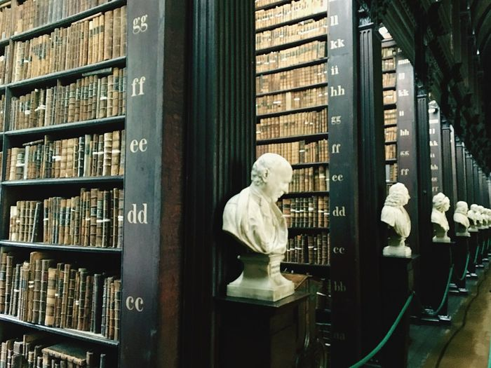 Library Bookshelf Shelf Indoors  Bust  Wisdom Education One Person Statue Day Architecture Books Irland Trinity College Variation Choice Built Structure In A Row Library Indoors  Bookshelf Large Group Of Objects Wood - Material No People Sculpture