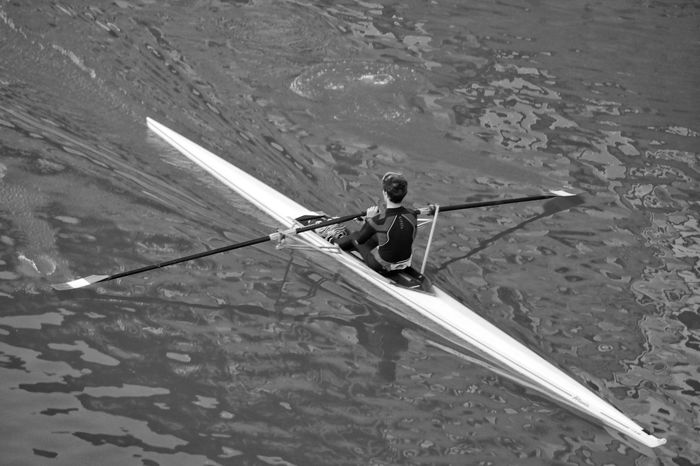 Rower Black & White Black And White Monochrome Atmospheric The Best City In The World Firenze Italy Florence River Arno Arno  Riverside Looking Down Ripples In The Water Oars Water Sport High Angle View Real People Day Occupation Water Transportation Working Nautical Vessel Outdoors Adult Adults Only Canoe Rowing Leisure Activity Sport Rowing