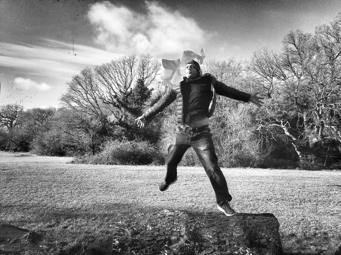 Jumping with band Park Monochromatic Monochrome Photography Fun Activity Object Full Length One Person Field Tree Day Outdoors Grass Jumping One Man Only Nature Real People