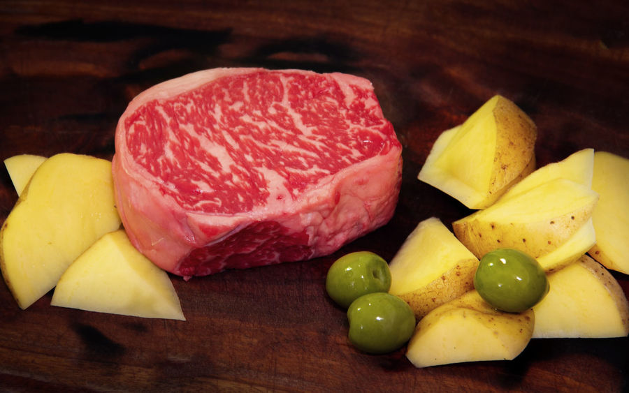 Food Meat Still Life Raw Food SLICE No People Close-up Cutting Board Red Meat Beef Olive Potato Cooking Food Preparation Raw Beef Beef Slices