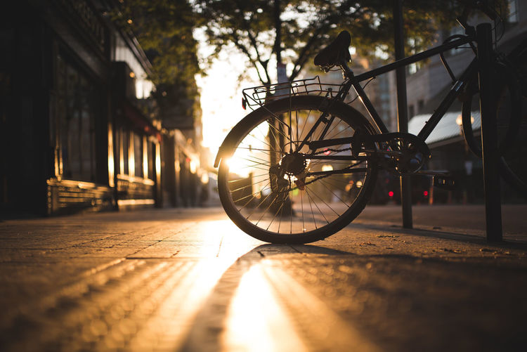 Bicycle on footpath in city